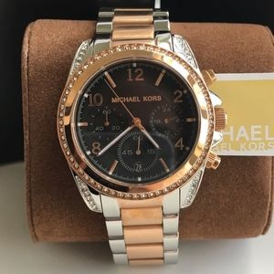 NEW Michael Kors Silver and Rose Gold Watch MK6093